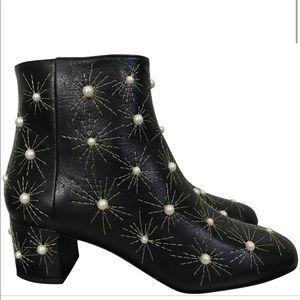♦️ Aquazzura Brooklyn Cosmic Pearls Leather Ankle